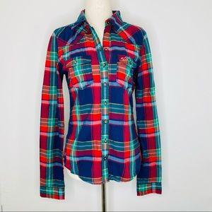 Hollister plaid button down shirt, sz S
